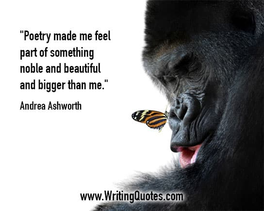 Gorilla with butterfly on its nose - Andrea Askworth quotes about poetry and feel - Writing Poetry Quotes
