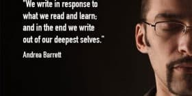 Half of a man's face,wearing glasses, with eyes closed - Andrea Barrett quotes about response and learn - Inspirational Writing Quotes