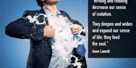 Man in suit with white liquid coming from chest - Anne Lamott quotes about decrease and isolation - Inspirational Writing Quotes