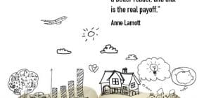 Open book with drawings coming from it - Anne Lamott quotes about real and payoff - Writing Quotes About Reading Books