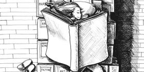 Girl sleeping on a pile of books, using a book for a blanket - Anthony Trollope quotes about wakes and dreams - Writing Fiction Quotes