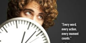 Man with curly hair peeking behind clock - Ayn Rand quotes about action and counts - Inspirational Writing Quotes