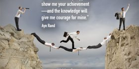 Business men making and traveling a human bridge between rocks - Ayn Rand quotes about give and courage - Inspirational Writing Quotes