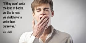 Man yawning, covering mouth with hand - C.S. Lewis quotes about them and ourselves - Writing Quotes About Reading Books