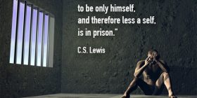 Man sitting in prison cell - C.S. Lewis quotes about himself and prison - Famous Quotes About Writing