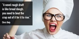 Chef woman wearing black glasses, wielding rolling pin - Chris Baty quotes about rough and draft - Funny Writing Quotes