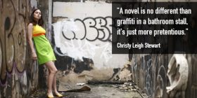 Young woman in dress in graffitied alley - Christy Leigh Stewart quotes about graffiti and pretentious - Funny Writing Quotes