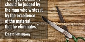 Scissors cutting rope - Ernest Hemingway quotes about material and eliminates - Hemingway Quotes On Writing