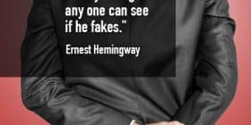 Man in suit with fingers crossed - Ernest Hemingway quotes about clearly and fakes - Hemingway Quotes On Writing