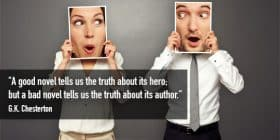 Man and woman holding pictures up for their faces - G.K. Chesterton quotes about truth and hero - Writing Fiction Quotes