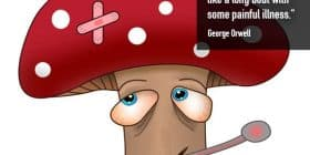 Sick mushroom with bandaids - George Orwell quotes about painful and illness - George Orwell Quotes On Writing