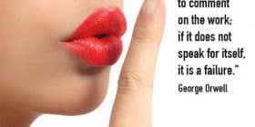 Woman with read lips making a shhh gesture - George Orwell quotes about wish and comment - George Orwell Quotes On Writing