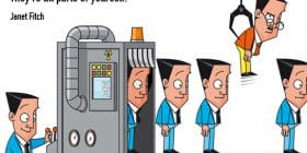 Cartoon man cloning himself on an assembly line - Jane Fitch quotes about parts and yourself - Writing Fiction Quotes