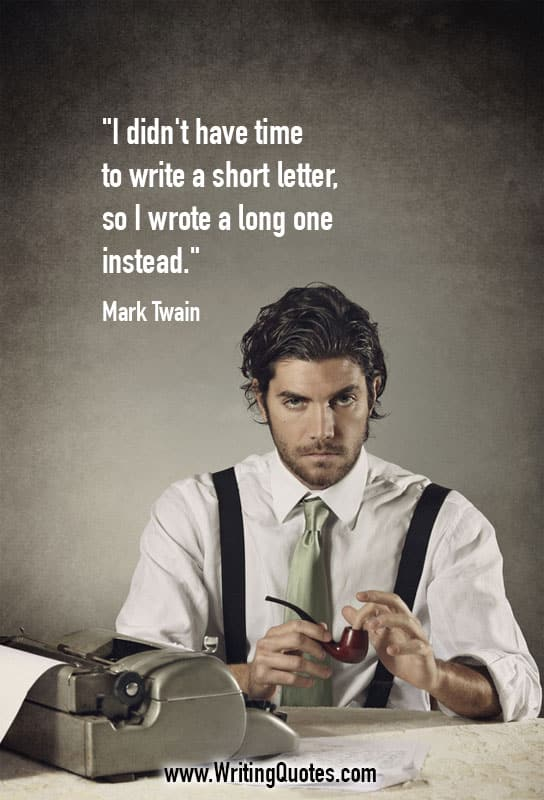 Man sitting at typewriter with pipe - Mark Twain quotes about short and letter - Mark Twain Quotes On Writing
