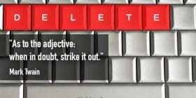 """Keyboard with read keys reading """"delete"""" - Mark Twain quotes about strike and out - Mark Twain Quotes On Writing"""