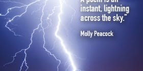 Lightning in night sky over town - Molly Peacock quotes about poem and lightning - Writing Poetry Quotes
