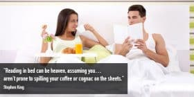 Man and woman in bed reading and eating - Stephen King quotes about coffee and cognac - Stephen King Quotes On Writing