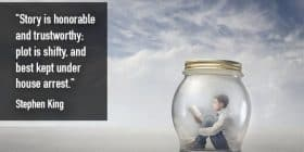 Man reading inside jar - Stephen King quotes about honorable and trustworrthy - Stephen King Quotes On Writing