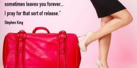 Pink suitcase and woman in heels - Stephen King quotes about pray and release - Stephen King Quotes On Writing