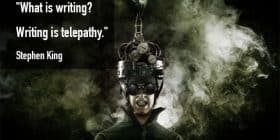Man with smoking gadget helmet - Stephen King quotes about writing and telepathy - Stephen King Quotes On Writing