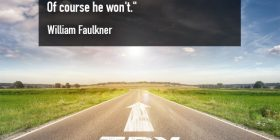 Try again and arrow painted on road - William Faulkner quotes about believes and each - Faulkner Quotes On Writing