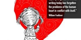 Little girl coloring heart with a crayon - William Faulkner quotes about heart and conflict - Faulkner Quotes On Writing