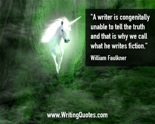 Glowing unicorn in forest - William Faulkner quotes about congenitally and truth - Faulkner Quotes On Writing